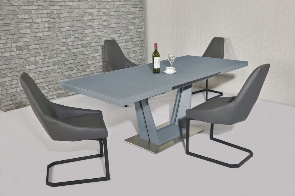GA SERENITY Grey Matt Gloss & Glass 160 / 200 cm EXTENDING Table & Chairs